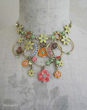 ONS PILGRIM Necklace ENCHANTED FLOWER Vintage Gold/Yellow/Coral Swarovski BNWT