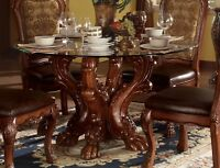 "Dresden Formal Carved Wood 54"" Round Glass Top Dining Table Cherry Oak Brown,Red"