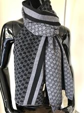 Authentic GUCCI UNISEX scarf GG Guccissima 100% Wool black/gray NEW