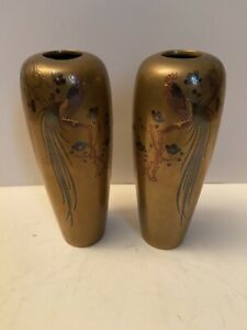 Pair Antique Japanese Inlaid Bronze Small Vases Cockerel Signed Meiji Pd. No Res