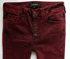 River Island Ladies Jeans Size 8 R burgundy buttons super skinny jeans 28/30