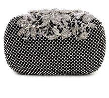 Black Crystal Studded Box Clutch Bag Flower Clasp Weddings, Bridal, Party, Prom