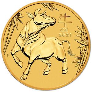 2021 P Australia Gold Lunar Series III Year of the Ox 1/20 oz $5 - BU