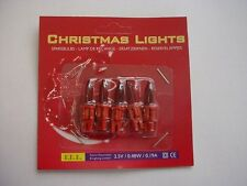 Pack of 5 Push In Spare Fairy Bulbs In Red with Red Base 2.5v 0.48w 0.19a (S62)