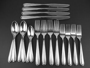 18 Pc Oneida Dylan Stainless Steel Knives Forks Spoons Frosted Center China