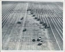 1947 Aerial Combines Working Red River Valley Grand Forks N Dakota Press Photo