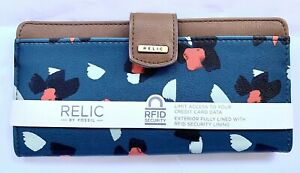 Relic by Fossil Cameron Checkbook RFID Security Bifold Teal Wallet Wristlet New