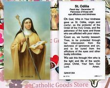 Saint. Odilia with Prayer in Honor of St. Odilia -  Laminated Holy Card