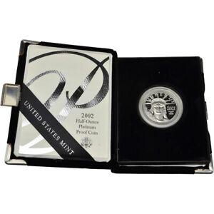 2002-W American Platinum Eagle Proof 1/2 oz $50 in OGP