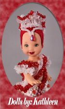 OOAK Barbie KELLY Embroided RE-root Christmas Beaded Design - Dolls by KATHLEEN