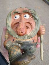 Hand carved Norway Vintage Anton Sveen Signed Wooden Troll Gnome Rare mancave