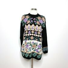 Vintage By Design Sweater Womens Medium Floral Long Sleeve Chunky Knit Crewneck