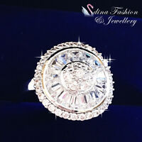 18K White Gold Plated Cubic Zirconia Round Baguette Channel Set Cluster Ring