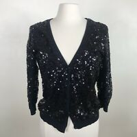 LC Lauren Conrad cardigan sz M Med sweater sequin black snap front formal party