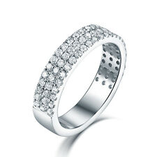 Solid 14K White Gold Three Lines Diamond Wedding Lover Band Ring Crowd Setting