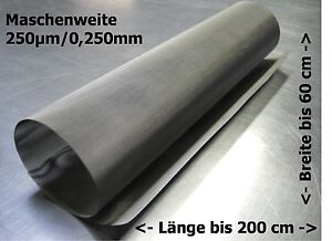 Tessuto Filtrante Acciaio Inox Mesh Gaze Drahtfilter 0,250mm 250µm 30-200x50cm