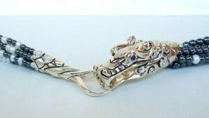 "NEW $2695 John Hardy Legends Naga Bib Necklace 7 Row Pearl Hematite Dragon 24"""