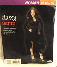 CLASSY VAMP WOMENS 2-PIECE HALLOWEEN COSTUME, WOMENS SIZE MEDIUM 8-10, NEW