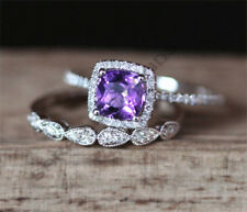 14K White Gold Over 2 CT Cushion Cut Amethyst Engagement Womens Bridal Ring Set