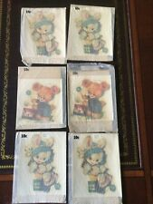 Vintage 6 Meyercord Decals,1950's Nursery w/envelopes,bears, bunnies Brand New