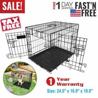 """24"""" 2 Doors Pet Folding Suitcase Dog Cat Crate Cage Kennel Playpen with ABS Tray"""