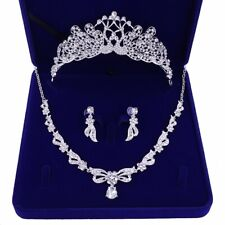 Fashion Wedding Bridal Rhinestone Necklace With Earring Crown Sets 5pcs