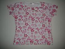 Tolles T-Shirt Gr. 128 weiß mit rosa Blumen und Schmetterlingen !!