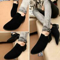 Chic Men Faux Suede Cuban Heel Pointed Toe Casual Slip On Loafers Business Shoes