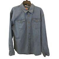 Wrangler Denim Indigo Long Sleeve Pearl Snap Western Shirt Men's Size XL