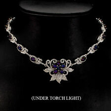 REAL GEM HOT RIANBOW LUSTER BLACK OPAL, W CZ STERLING 925 SILVER BIB NECKLACE