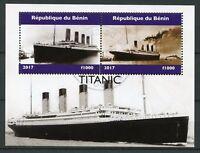 Benin 2017 CTO Titanic 2v M/S Boats Ships Nautical Stamps