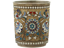 Russian Silver Gilt and Polychrome Cloisonné Enamel Vodka Cup / Beaker - Antique