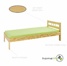Lit simple enfant adulte 1 place 190 x 90  bois massif naturel meuble literie