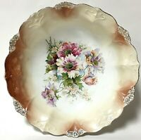 Vintage Round Porcelain Peach Floral & Gold Serving Bowl
