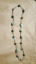 Silver, Paua Shell and Green Bead Necklace CHEAP Fashion