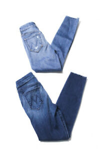 Mother Womens Mid Rise Medium Wash Skinny Jeans Blue Size 24 Lot 2
