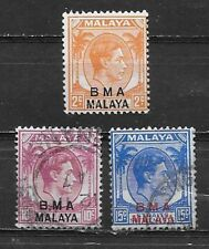 MALAYA , 1945/48 ,  BRITISH MILITARY , SET OF 3 STAMPS O.P. , PERF , VLH/USED