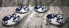 """Set of 4 Royal Norfolk Blue Floral Side/salad Plates 7.5"""" Diameter"""
