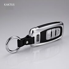 SILVER ALUMINUM Audi key case cover shell holder for A4 A5 A6 A7 RS leather FOB