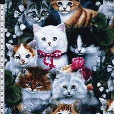 Valentine's Kitties Cats Adorable Premium 100% Cotton Fabric by the yard