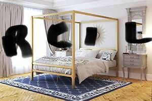 Modern Canopy Bed with Built-in Headboard - Size : Queen Gold