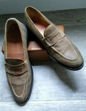 7b01e0bad44 MARTIN DINGMAN Classic Diamond Penny Loafers Tan Brown Suede Leather Mens  US 11D
