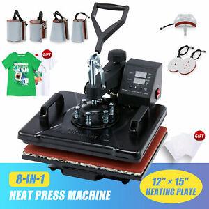"12""x15"" 8 IN 1 Combo T-Shirt Heat Press Transfer Machine Sublimation Swing Away"