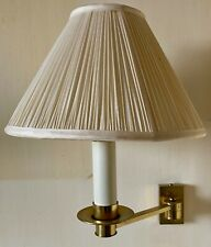 Pair of Brass Swivel Wall Light Fitting with Shades
