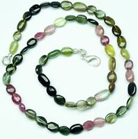 NATURAL MULTICOLOR TOURMALINE 7*5MM SMOOTH NUGGETS FINISHED NECKLACE 76CT. 17""