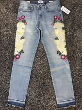 """New WILLIAM RAST Sz 28 Embroidered Studded Skinny Ankle Jeans """"Summer Dance"""""""