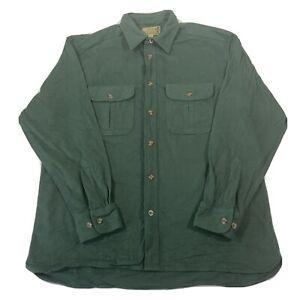 Vintage Cabelas Green Deerskin Soft Chamois Heavy Cotton Shirt - Mens Large