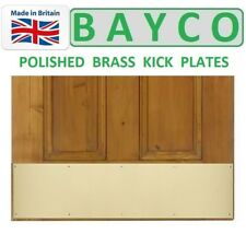 BRASS DOOR/KICK PLATE WITH FIXING SCREWS FOR TIMBER DOOR. POLISHED FINISH.