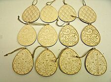 Lot of 12 Wood Easter Tree Egg Ornaments Primitive Easter Decor 3.5""