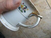 Vintage Antique Victorian Floral Ceramic Porcelain Shaving Mug, Gold Trim, GIFT